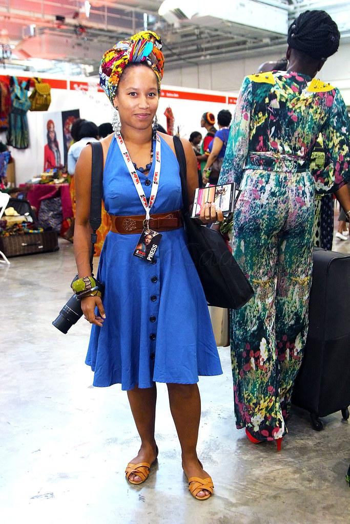 african-print-kitenge-ankara-turban-scarf-bangle-blue-dress-brown-belt,blue dress, skater dress, blue skater dress, brown belt, brown waist belt, beaded necklaces, interwoven flat sandals, brown interwoven flat sandals, flat sandals, brown flat sandals, how to accessories, stylish way of accessorizing, how to style a turban, how to wear a turban, Blue halter neck button down dress, 'kitenge'/'ankara'/African print turban scarf, bangle, brown belt & interwoven flat sandals
