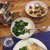 Dinner tonight: meatballs, rice and spring greens. I've been thinking about what 'easy' weeknight cooking looks like. This fits the bill for me: meatballs made last night and finished in the oven this evening. A microwave pack of brown rice. Spring greens