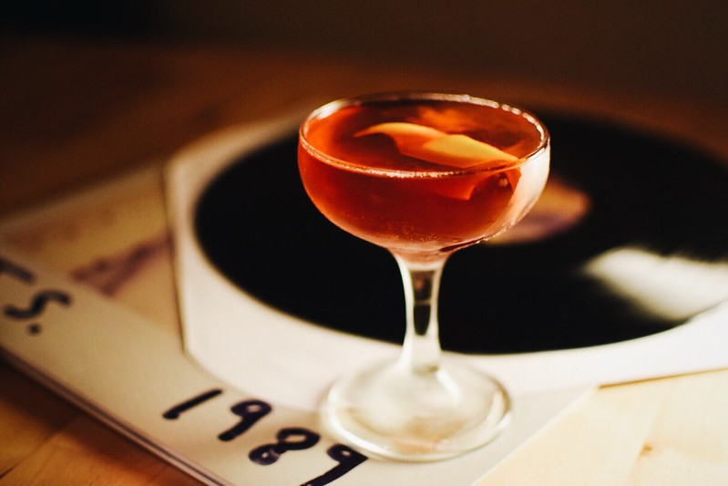 Boulevardier - classic cocktail, stirred. bourbon, Campari, and sweet vermouth. slcFLAKE