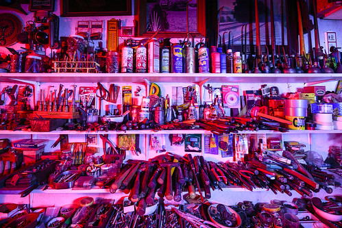 Notley Hawkins Photography, Columbia MO Photo, Night Photography, Tool Shed, tools, Light Painting