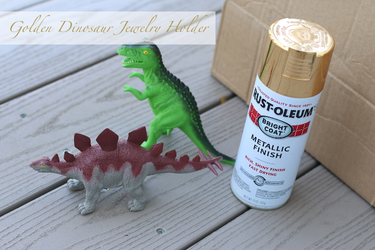 Home Decor, DIY Gold dinosaur jewelry holder, design, entertaining