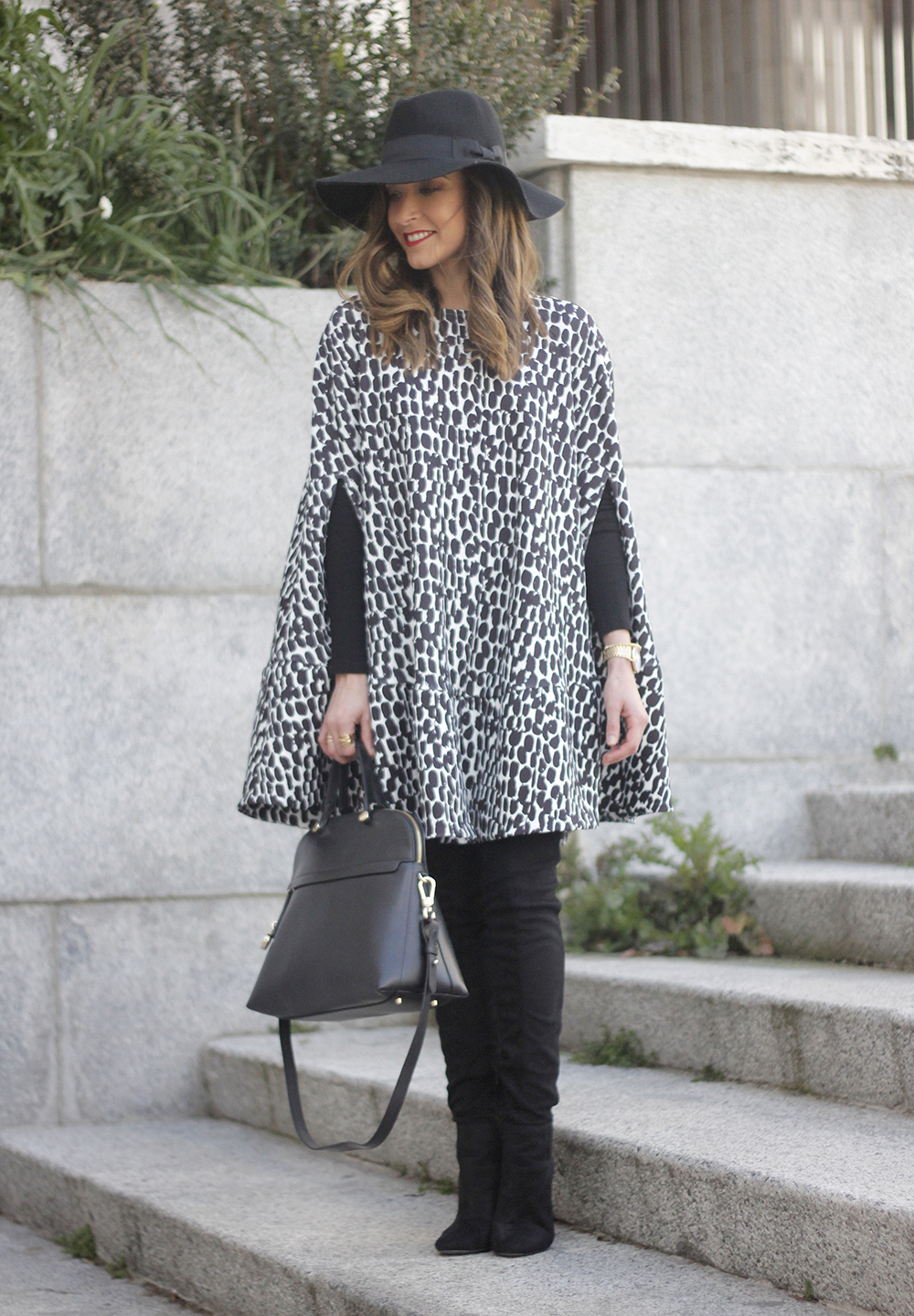 black and white outfit cape dress over the knee boots furla handbag style17