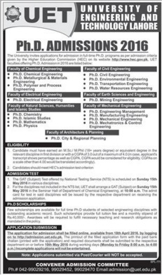University of Engineering And Technology Lahore Admissions 2016
