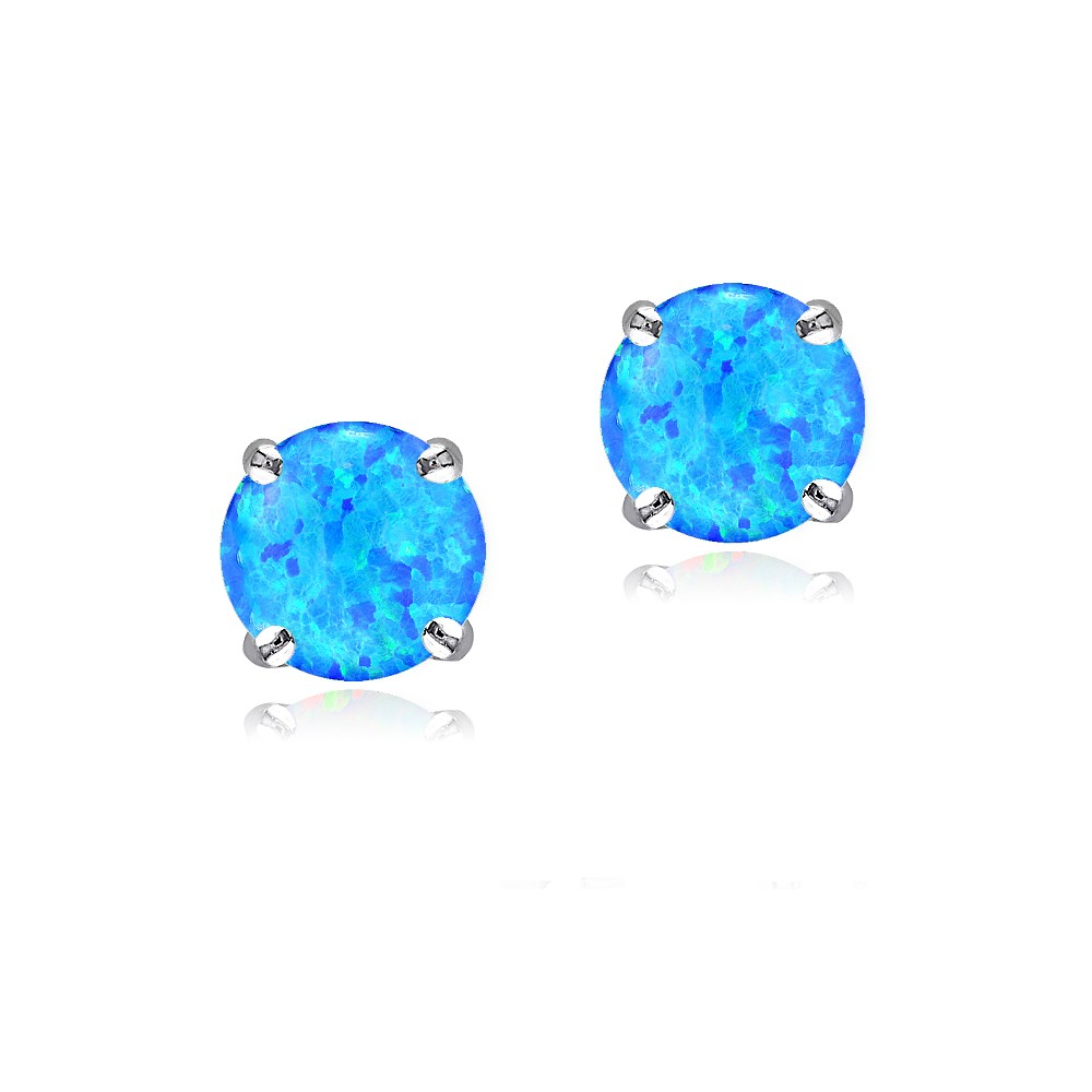 925 silver 6mm round lab created blue opal stud earrings. Black Bedroom Furniture Sets. Home Design Ideas
