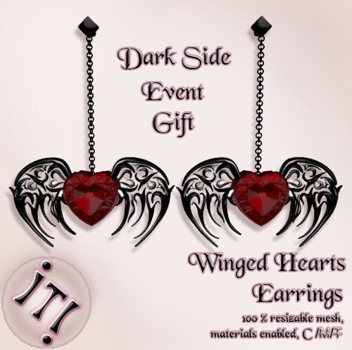 !IT! - Winged Hearts Earrings Image