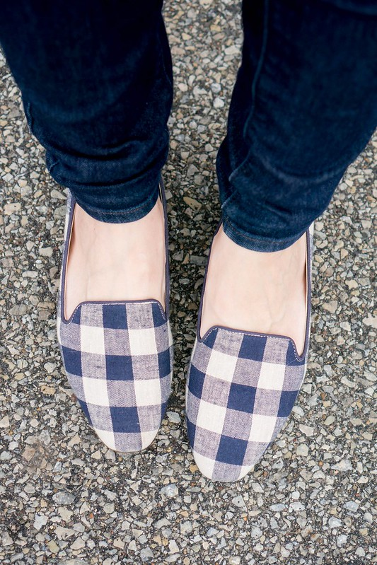 navy sweater + J.Crew Factory vest + gingham print flats + jeans | Style On Target