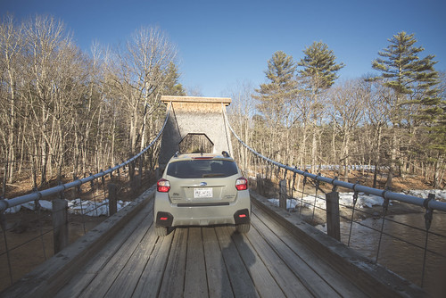 bridge winter me maine subaru suspensionbridge select newportland newportlandwirebridge crosstrek