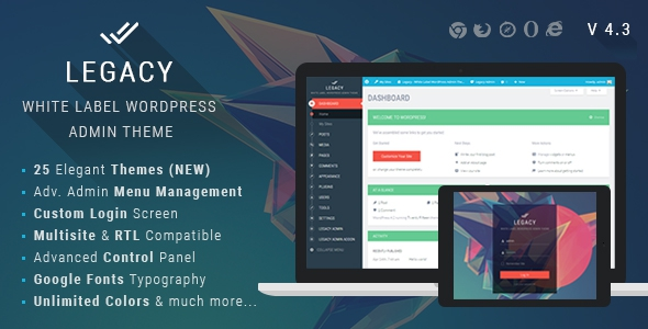 Legacy v4.4 - White label WordPress Admin Theme