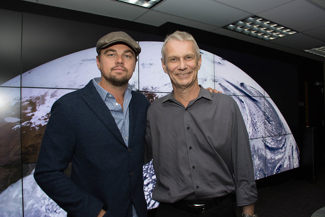 Leonardo DeCaprio visited Goddard Saturday to discuss Earth science with Piers Sellers
