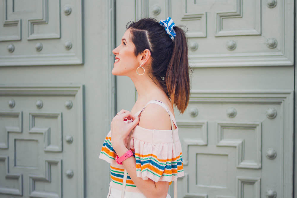 spring off shoulder outfit
