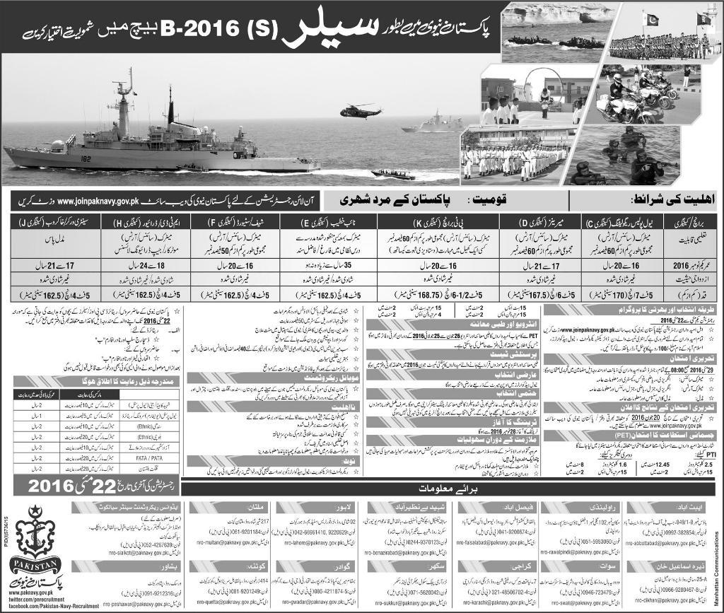 Pakistan Navy Jobs 2016