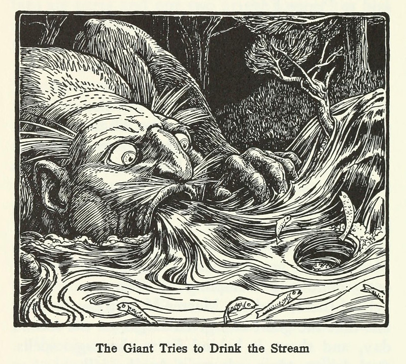 "John D Batten - The Giant Tries To Drink The Stream, Illustration from ""Europa's Fairy Book,"" 1916"
