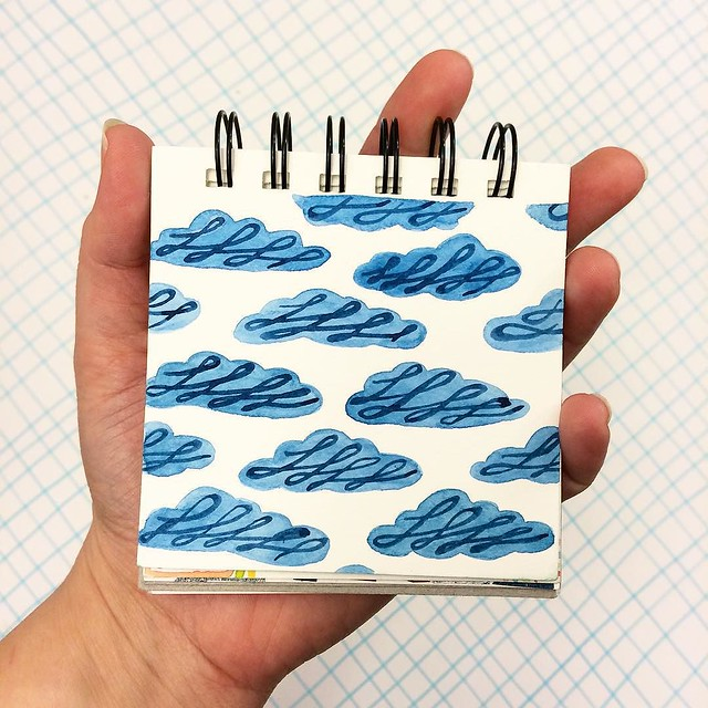 "#patternjanuary for ""Free"" is this cloud piece in a #littleartbook. It was my first idea, but then I tried other things, but I ended up coming back to it anyway."