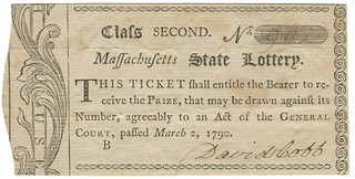 1790 Massachusetts lottery ticket