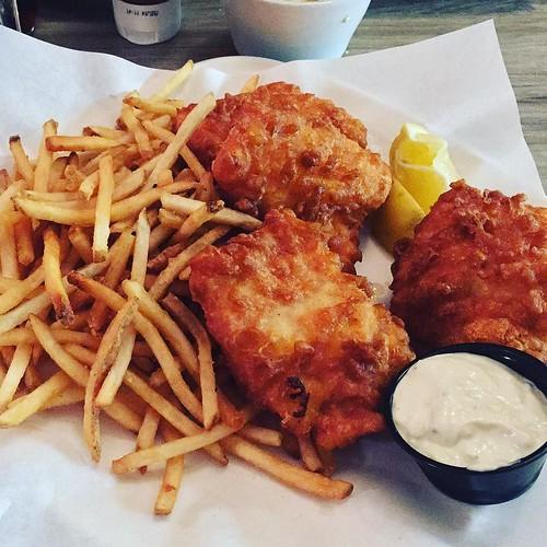 Halibut fish and chips OMG SO GOOD.