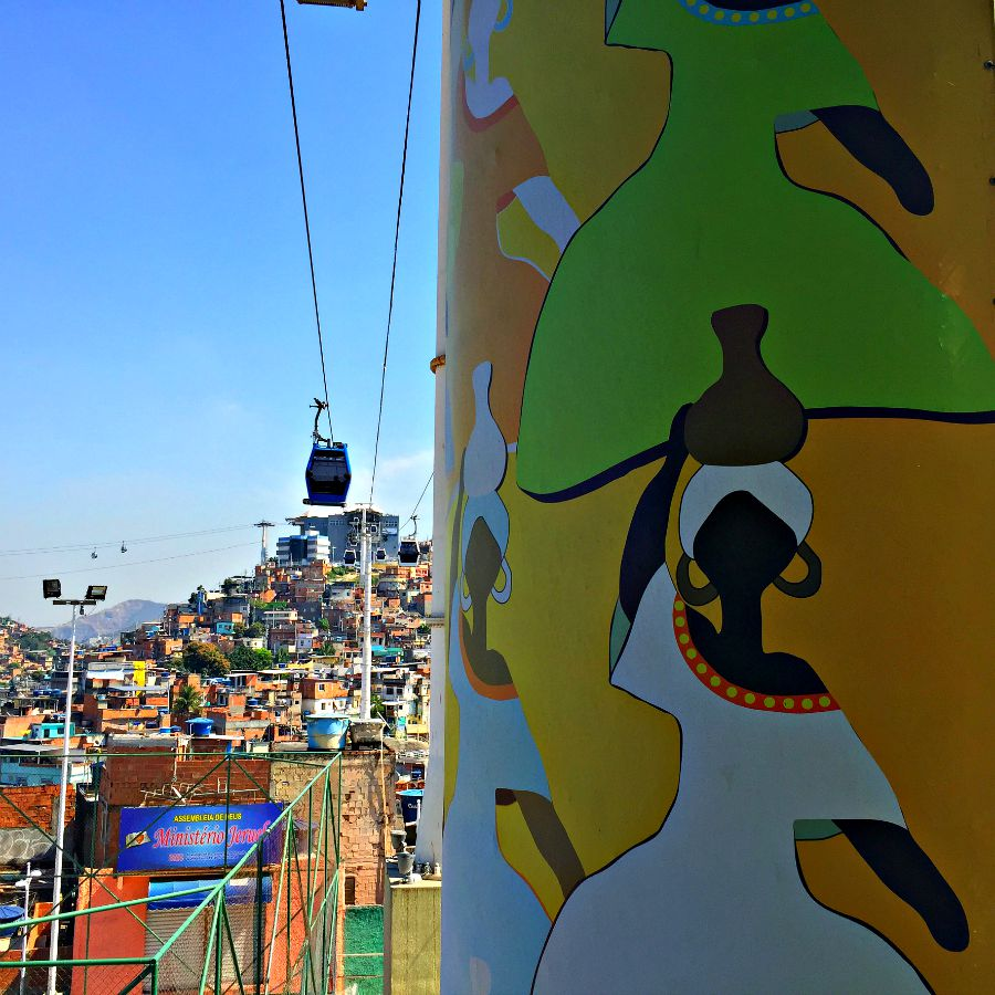 Mural decorating the cable car pole