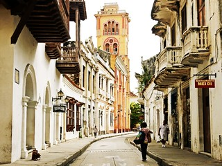 Colonial street in Cartagena