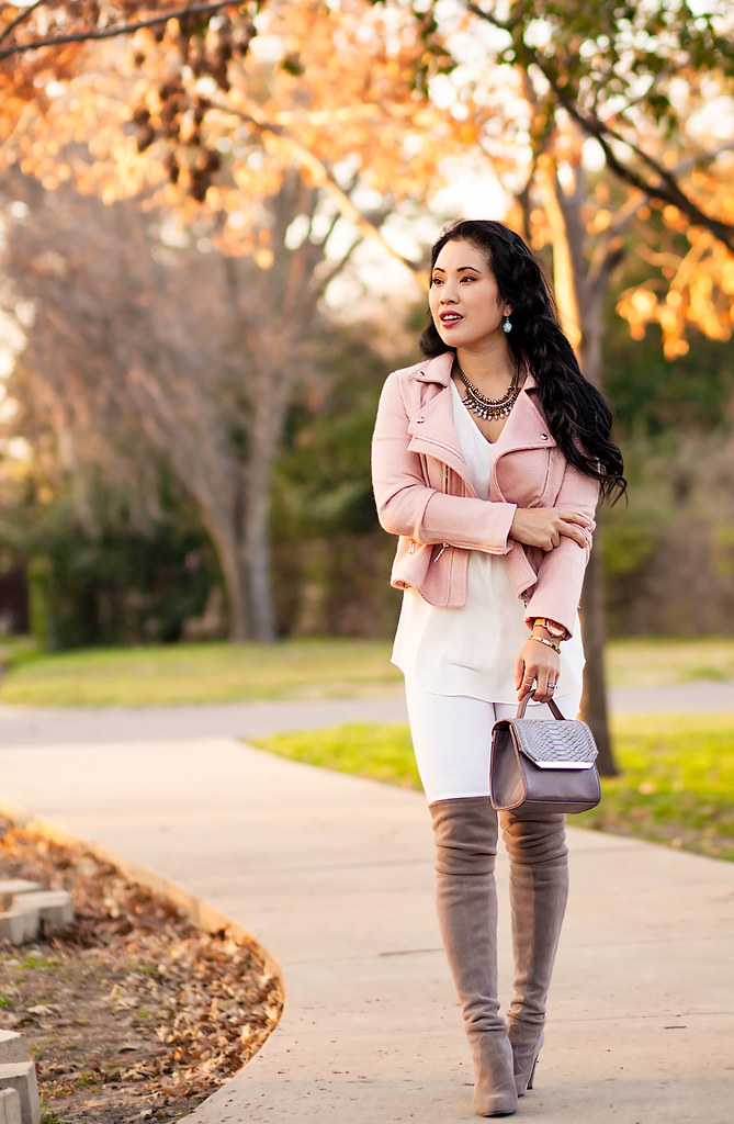 cute & little blog | petite fashion | pink cropped wool moto jacket, white silk shirt, white distressed jeans, stuart weitzman highland gray otk boots | spring transition outfit
