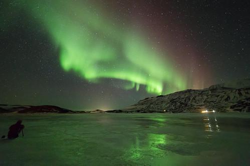 Aurore boréale dans le nord Islandais