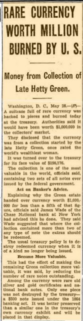 Green currency burned article