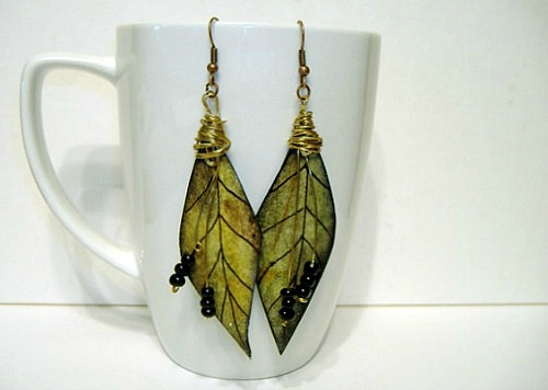 Green, Black and Brass Leaf Earrings by Lee Owenby