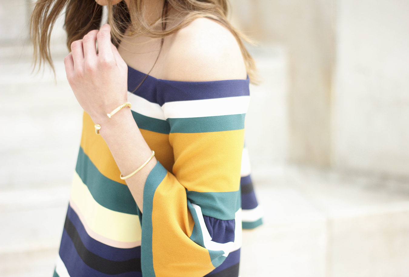 Off The Shoulder Top with stripes jeans heels accessories bag aristocrazy09