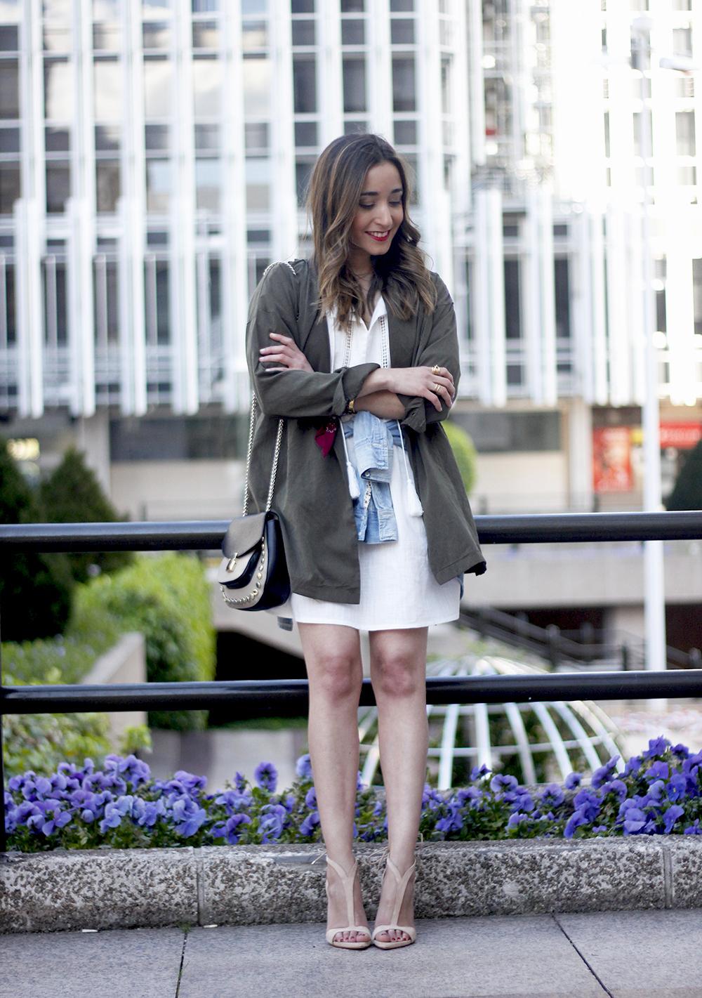 White Dress khaki shirt denim shirt nude sandals bandana outfit spring style05