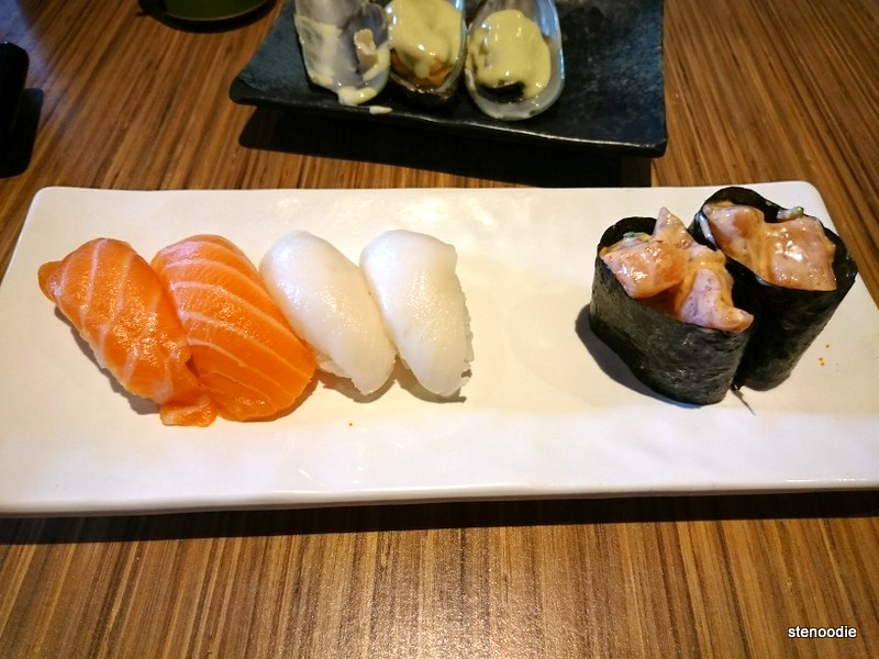 Salmon Sushi, White Tuna Sushi, Spicy Salmon Sushi