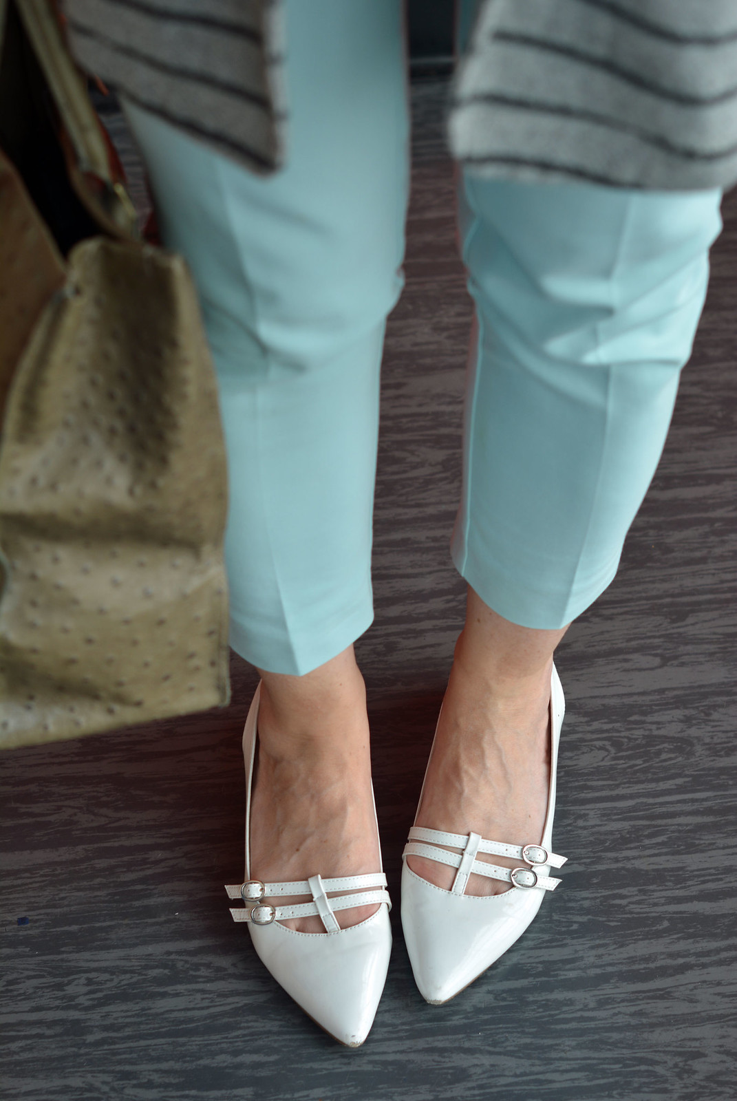 Spring Style: Mint trousers, white pointed flats | Not Dressed As Lamb