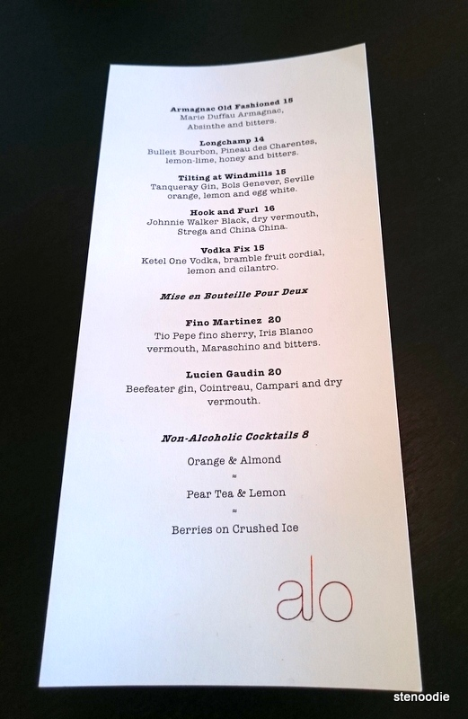 Alo Restaurant drinks menu