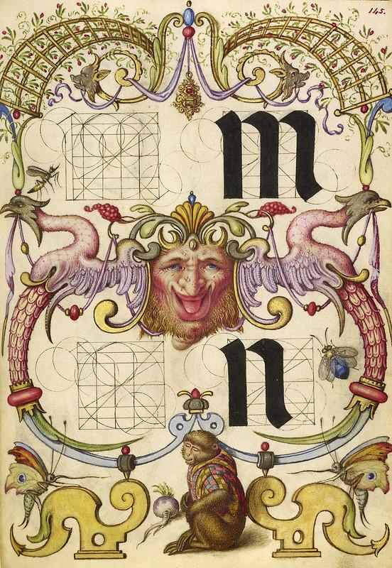 010- Fol 145-Guia para la construcción de la m y n minusculas- Mira Calligrafhiae monumenta- Joris Hoefnagel- Getty Museum.