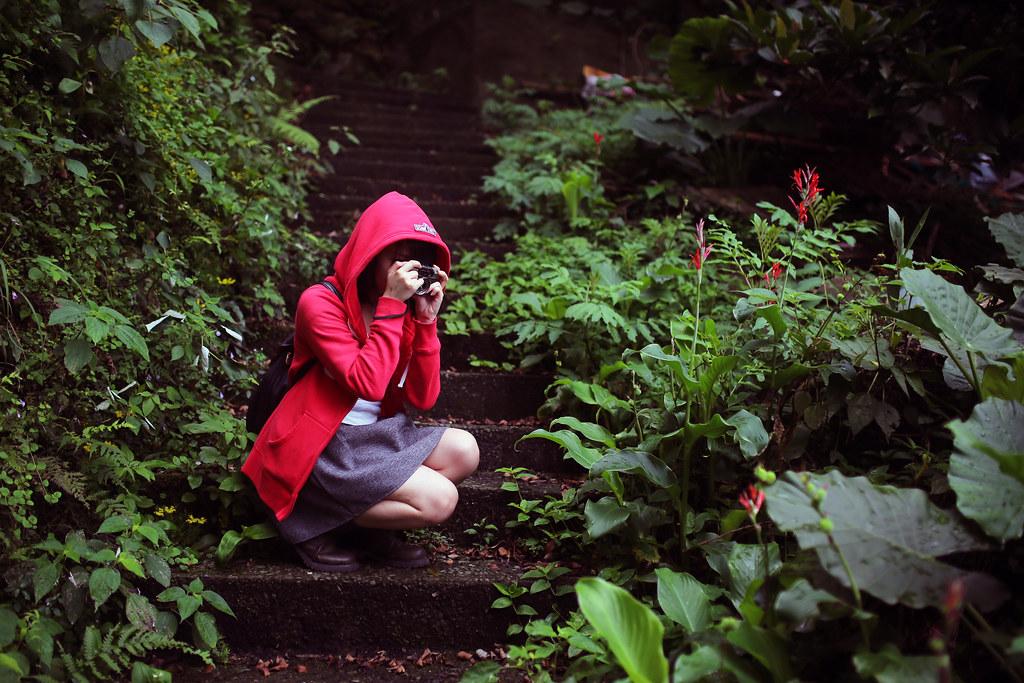 九份 Taipei, Taiwan / Sigma 35mm F1.4 / Canon 6D 紅色和綠色這兩個搭在一起很凸顯主體,實際拍了之後才發現相機自己把這部份的顏色變重,但也可能是我亂說的,純粹只是眼睛看起來對比很重的關係。  剛好妹妹穿紅色帽 T,這個景要表達的是小紅帽在找婆婆的途中也會蹲下來拍照(什麼?)  Canon 6D Sigma 35mm F1.4 DG HSM Art IMG_8163 2016/05/01 Photo by Toomore