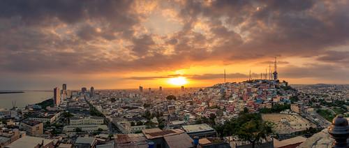 city sunset panorama ecuador guayaquil ec guayas