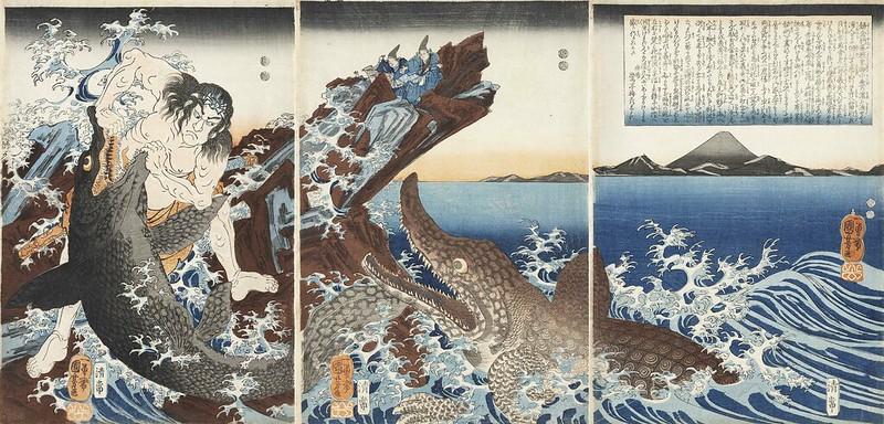 Utagawa Kuniyoshi - Asaina Saburo Yoshihide Wrestling Two Crocodiles at Kotsubo Beach, 19th C