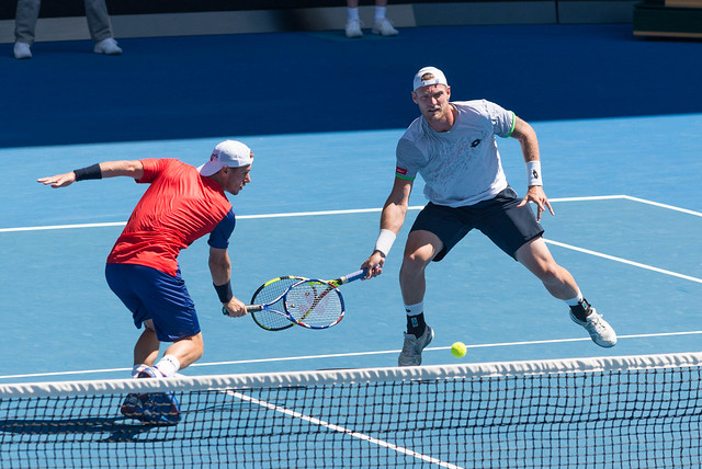 Lleyton Hewitt plays doubles with Sam Groth  at the Australian Open 2016 - possibly need a little doubles coaching?