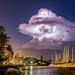 Starry night lit by cumulonimbus cloud by Garry - www.visionandimagination.com