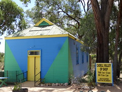 Cadell. This colourful galvanised iron Op Shop was once the Cadell Anglican Church. It opened as a church in 1920.