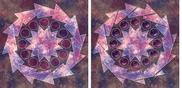 Mandala before and after shading
