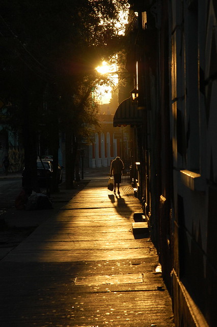 Sunset in Barrio Bellavista, Santiago, Chile
