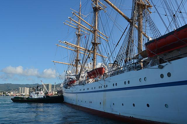 along the hull
