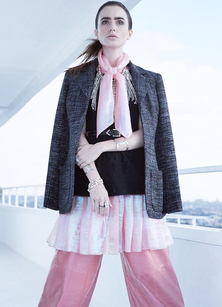 Лили Коллинз — Фотосессия для «Harper's Bazaar» AU 2016 – 5