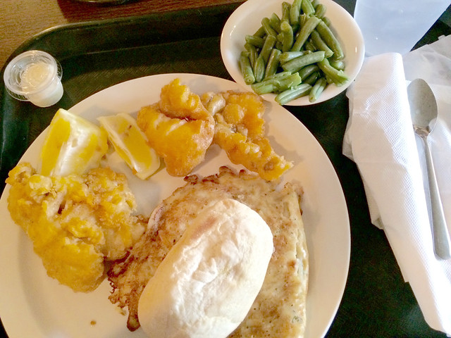 Sokolowski's Potato Pancake fish mac nd cheese green beans