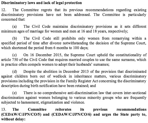 Discriminatory laws and lack of legal protection (1/2)