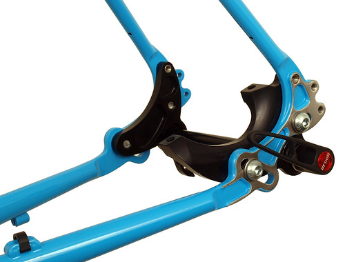 <p>Gunnar Hyper-XC in Big League Blue. It can go single speed or geared, through-axle or quick release and post or ISO mount brakes making it one of the most versatile bicycle designs available today.</p>