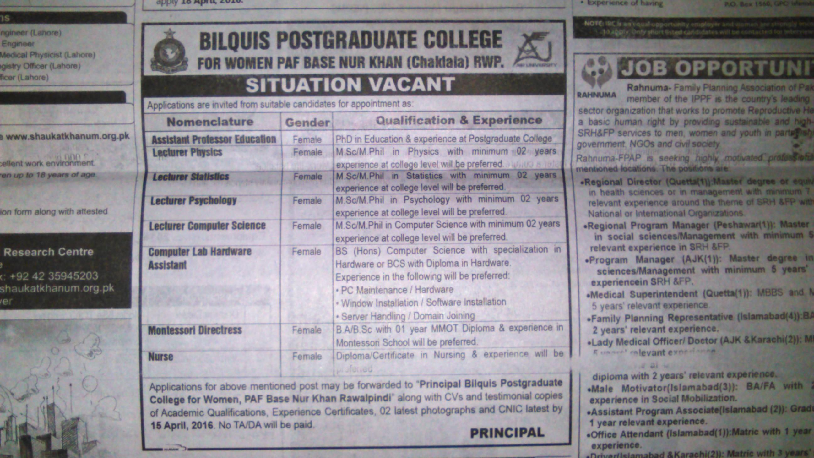 Bilquis Postgruaduate College for Women Rawalpindi Jobs 2016