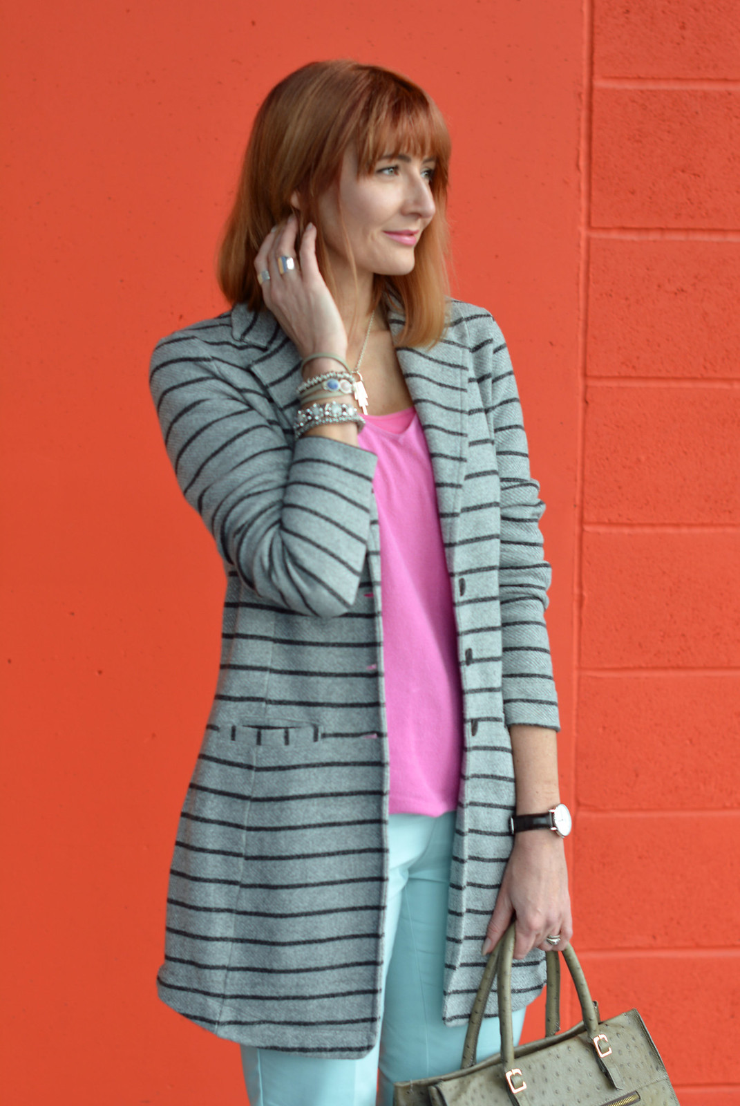 Spring Style: Pink and mint with grey stripes | Not Dressed As Lamb