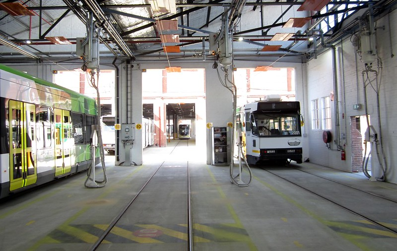E-class and B-class trams in the sanding area, Preston tram depot