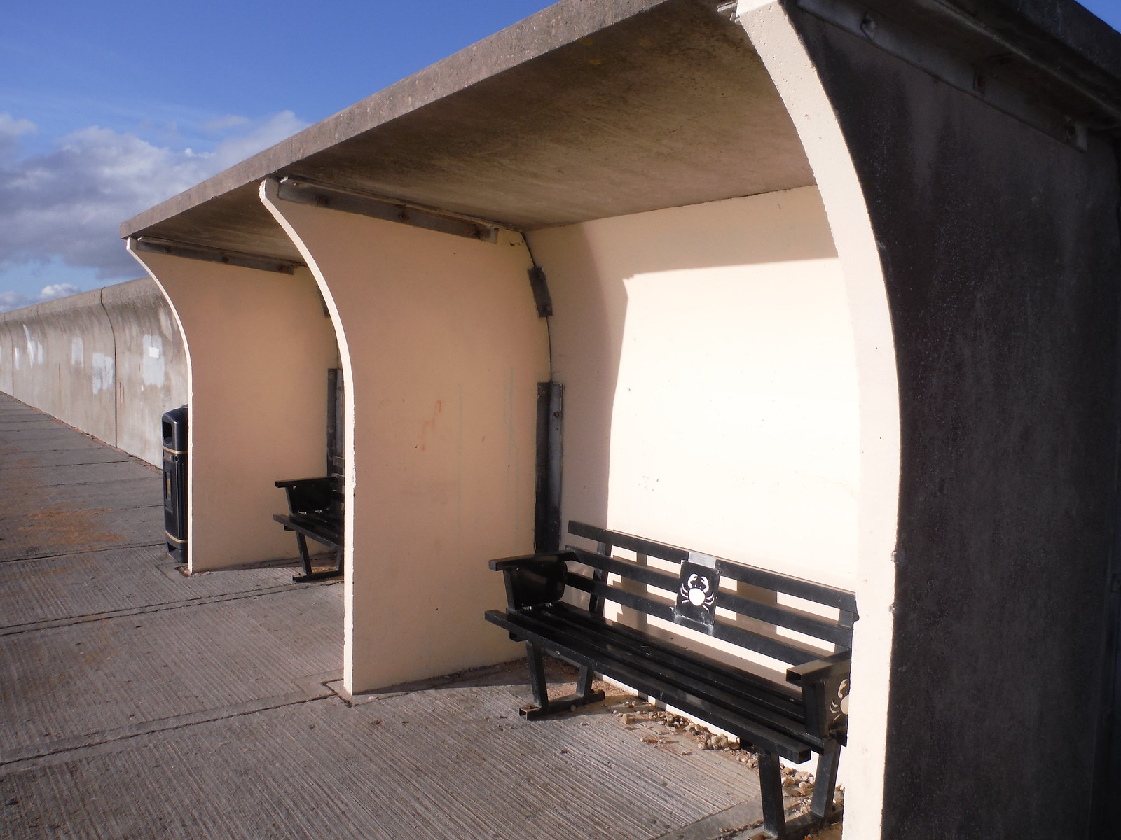 sheltered benches, riverfront, Canvey Island SWC Walk 258 Benfleet Circular (via Canvey Island)
