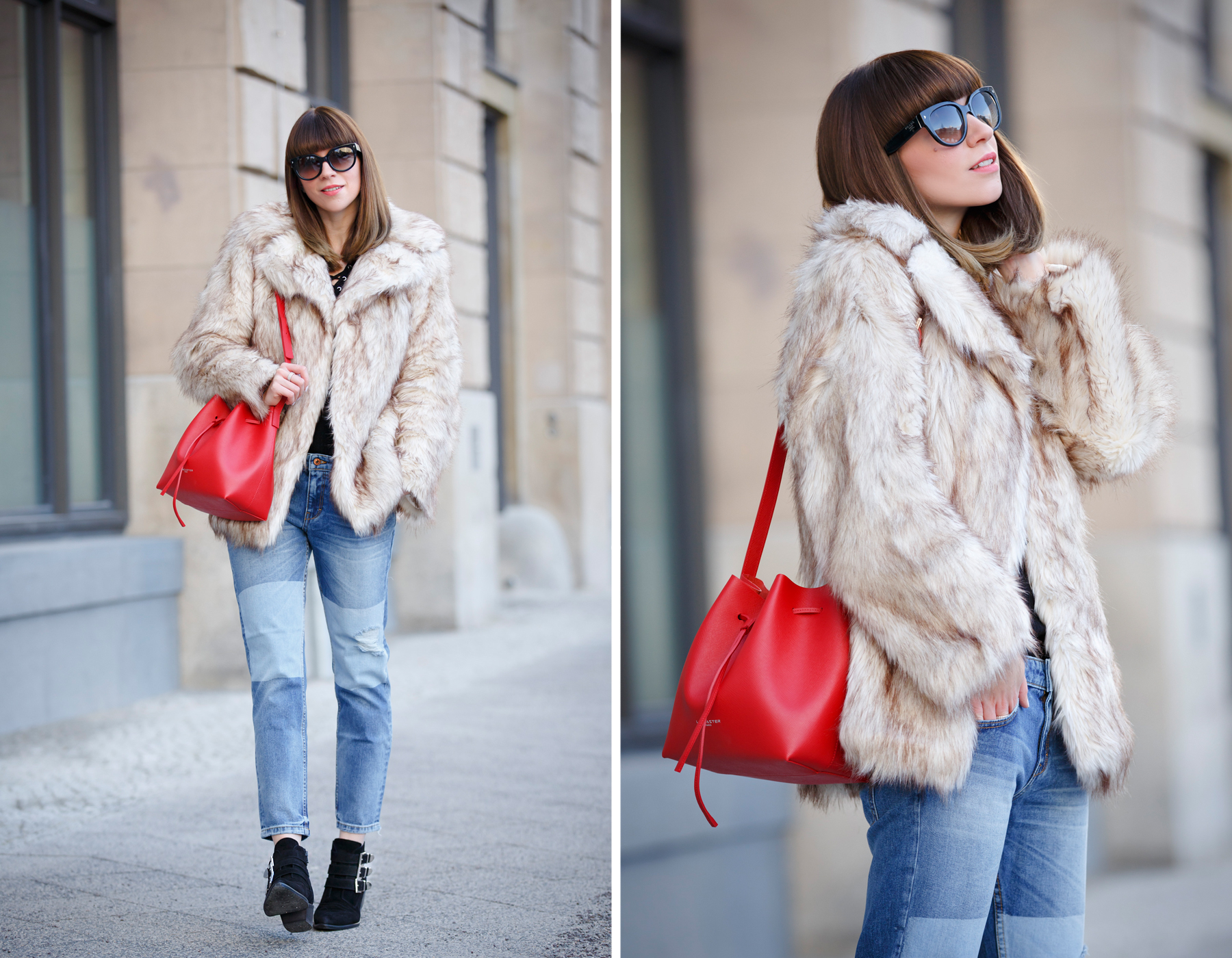 lancaster paris red bucket bag mansur gavriel lookalike patch boyfriend jeans mango fake fur coat asos black sacha booties ankle boots chloe suzanna prada sunglasses luxury style blogger cats & dogs blog ricarda schernus 6