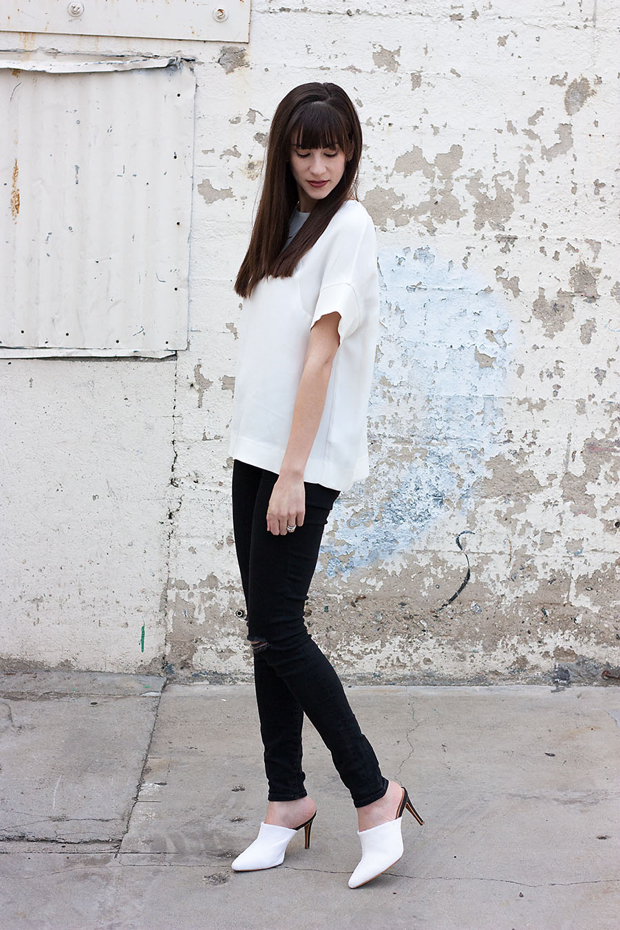 White Marias Mules, Black and White Minimalist Outfit